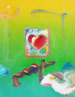 Heart Series Unique 2008 23x21 Works on Paper (not prints) by Peter Max