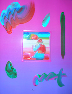 Umbrella Man Unique 2009 30x26 Works on Paper (not prints) by Peter Max