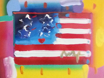 Flag With Heart Unique 20x32 Works on Paper (not prints) by Peter Max