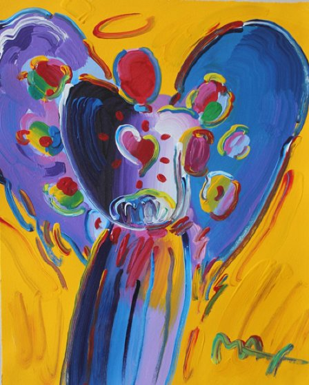 Angel With Heart: Version I #2  28x24 Works on Paper (not prints) by Peter Max