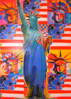 God Bless America With Five Liberties 2001 Unique Works on Paper (not prints) by Peter Max