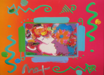 Flower Blossom Lady Collage 2000 12x14 Works on Paper (not prints) - Peter Max