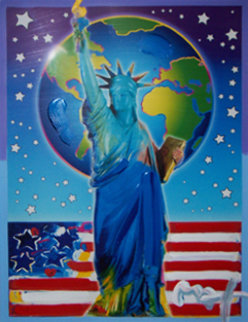 Peace on Earth II Unique 2005 37x31 Works on Paper (not prints) by Peter Max