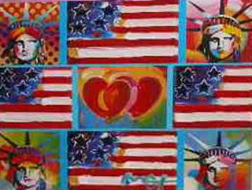 4 Flags, 2 Hearts, And 4 Liberties 2006 Unique Works on Paper (not prints) - Peter Max