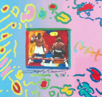Sugar Ray Collage, Version V Unique 1988 Works on Paper (not prints) by Peter Max