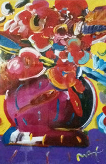 Flowers II 2006 Unique 50x38 Super Huge Works on Paper (not prints) - Peter Max