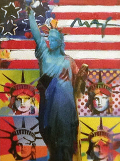 Full Liberty With 4 Liberty Heads 2006 Unique Works on Paper (not prints) by Peter Max