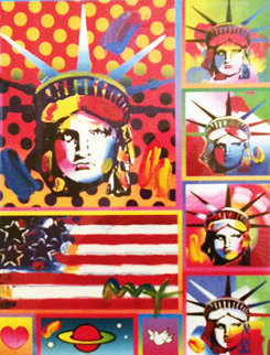 Five Liberties And Flag 2006 Unique 32x29  Works on Paper (not prints) by Peter Max