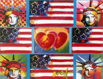 4 Liberties, 4 Flags, And 2 Hearts 2006 Unique 29x32 Works on Paper (not prints) by Peter Max
