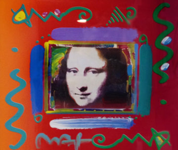 Mona Lisa Collage II 1997 Unique 24x26 Works on Paper (not prints) - Peter Max