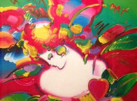 Flower Blossom Lady No. 14 1994 46x55 Super Huge Works on Paper (not prints) by Peter Max - 2