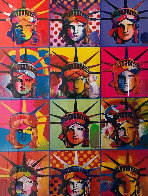 Liberty and Justice For All Unique 2001 24x18 Works on Paper (not prints) by Peter Max - 0