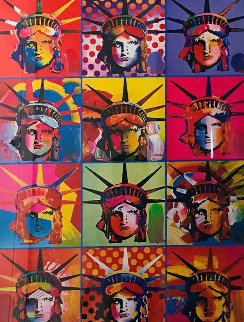 Liberty and Justice For All Unique 2001 24x18 Works on Paper (not prints) by Peter Max