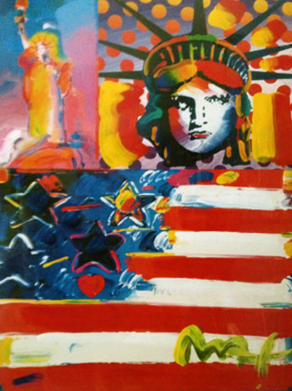 God Bless America II Unique 24x18 Works on Paper (not prints) by Peter Max