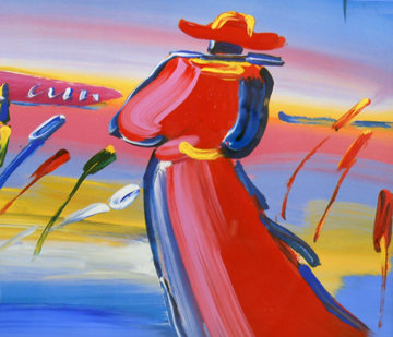 Walking in Reeds 1999 30x36 Works on Paper (not prints) by Peter Max