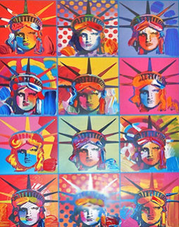 Liberty And Justice For All (a Unique Variation) 2001 Unique 24x18 Works on Paper (not prints) - Peter Max