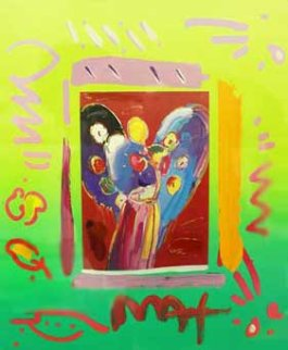 Angel With Heart Collage, Ver. II 1998 Unique Works on Paper (not prints) by Peter Max