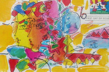 Double Profile Unique 13x18 Works on Paper (not prints) by Peter Max