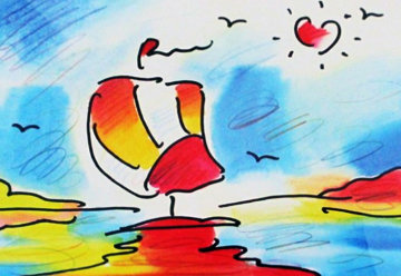 Sailboat With Heart Limited Edition Print - Peter Max