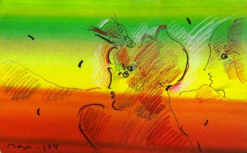 Untitled Painting 1988 Works on Paper (not prints) by Peter Max