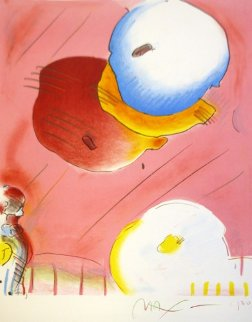 Two Floating PP 1980 Unique Embellished Works on Paper (not prints) by Peter Max