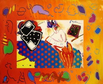Rising Sun Collage 2 Unique Works on Paper (not prints) by Peter Max