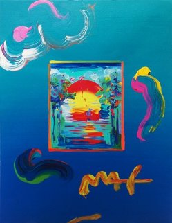 Better World  Mixed Media 2010 Unique 16x12 Works on Paper (not prints) by Peter Max