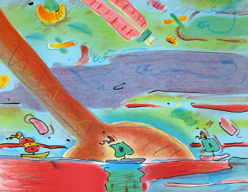 Sailboats PP 1980 Unique Embellished Works on Paper (not prints) by Peter Max
