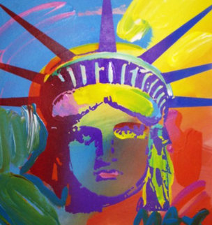 Liberty Version VII No. 14 Unique 1993 Unique 12x11 Works on Paper (not prints) by Peter Max