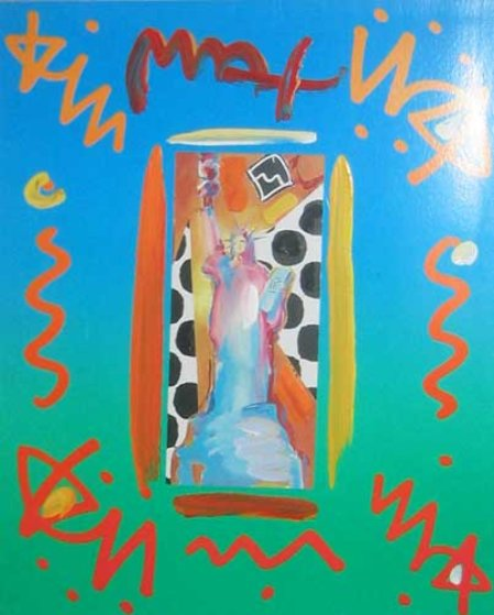 Statue of Liberty Collage 14x12 Works on Paper (not prints) by Peter Max