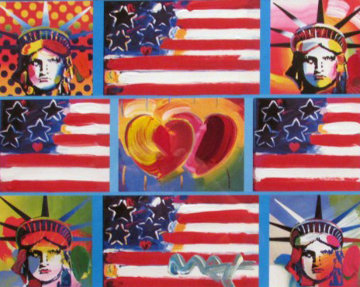 Patriotic Series: 4 Liberties, 4 Flags, And 2 Hearts 2006 Unique Limited Edition Print by Peter Max