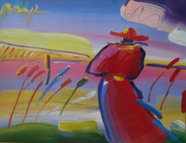 Walking in Reeds  Unique 1999 30x35 Works on Paper (not prints) by Peter Max
