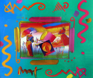 Rainbow Umbrella Man Collage 1998 Works on Paper (not prints) by Peter Max