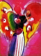 Angel With Heart on Blends 2007 Unique #740 26x22 Works on Paper (not prints) by Peter Max - 0