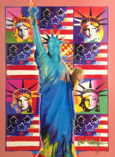 God Bless America III - With Five Liberties 2005 Unique 24x18 Works on Paper (not prints) - Peter Max