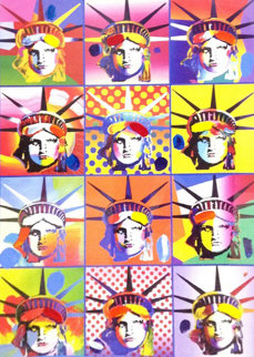 Liberty And Justice For All II  2005 40x34 Super Huge Works on Paper (not prints) - Peter Max