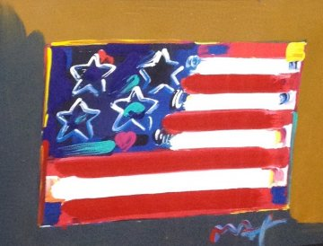 Flag With Heart Series III 2006 34x40 Works on Paper (not prints) by Peter Max
