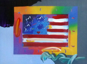 Flag With Heart on Blends 2005 21x23 Works on Paper (not prints) by Peter Max