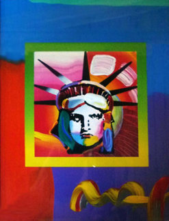 Liberty Head II on Blends 2006 23x21 Works on Paper (not prints) by Peter Max