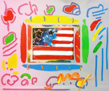 American Flag With Heart Unique 2001 22x24 Works on Paper (not prints) by Peter Max
