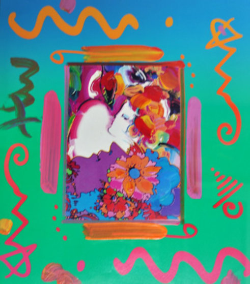 Flower Blossom Lady Collage 2000 Unique  Works on Paper (not prints) by Peter Max