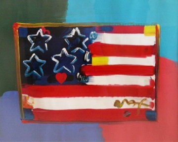 Flag With Heart 1999 Unique 31x37 Works on Paper (not prints) by Peter Max