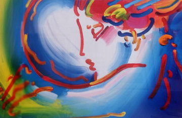I Love the World Unique 2004 18x23 Original Painting by Peter Max