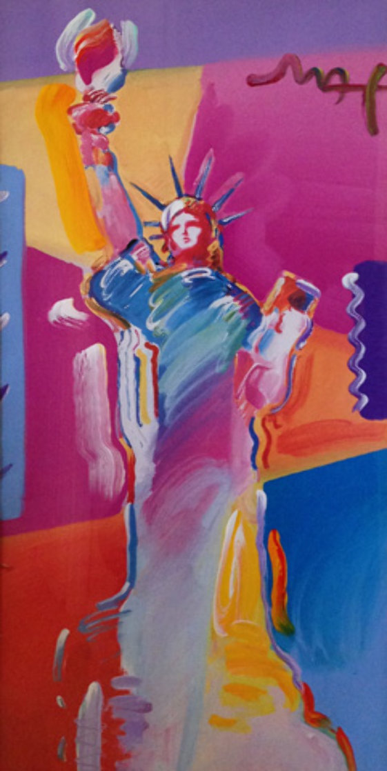 Statue of Liberty 2001 53x34 Huge Works on Paper (not prints) by Peter Max