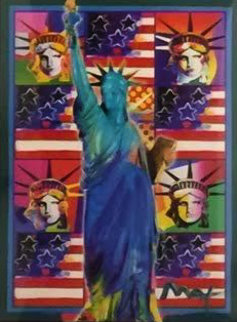 God Bless America III 2005 38x31 Works on Paper (not prints) by Peter Max