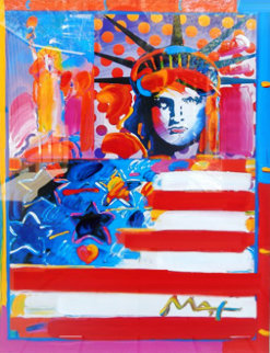 God Bless America II 2001 31x31 Works on Paper (not prints) by Peter Max