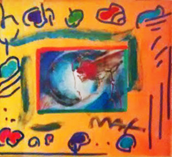 I Love the World Collage 1999 12x14 Unique Works on Paper (not prints) by Peter Max