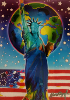 Peace on Earth 2 Unique 2005 27x21 Works on Paper (not prints) by Peter Max