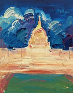 Monument 1991 20x16 Original Painting by Peter Max