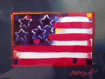 Flag With Heart 1999 31x38 Unique Works on Paper (not prints) by Peter Max